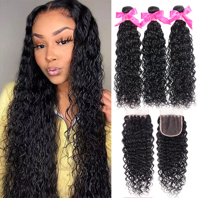 Brazilian Virgin Hair Bundles With Closure Water Wave Hair Closure With Bundles Water Wave Sew In With Closure