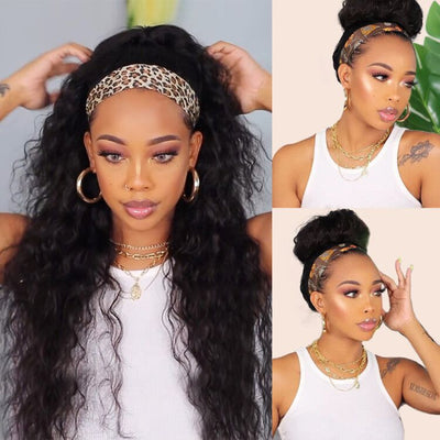 Glueless Headband Wig Human Hair Water Wave Texture