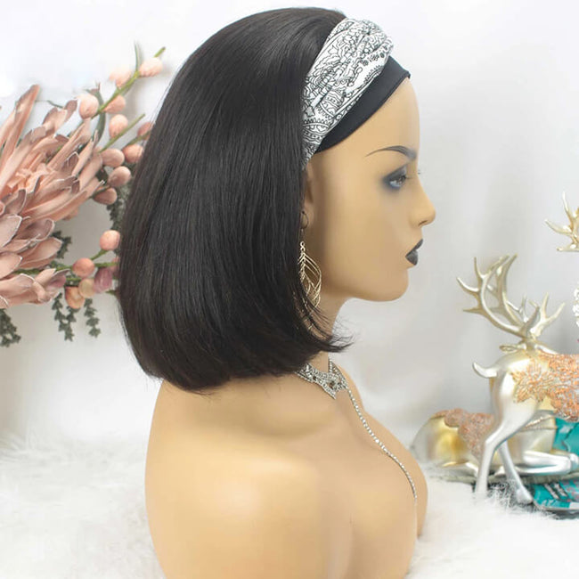 Classic Headband Wig Glueless Human Hair Bob Wigs Beginner Friendly No Lace No Glue