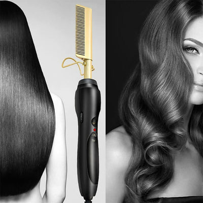 Straightening Hot Comb Electric Pressing Comb Hair Straightener Flat Iron Comb For Women Mens Beard Straightening Comb