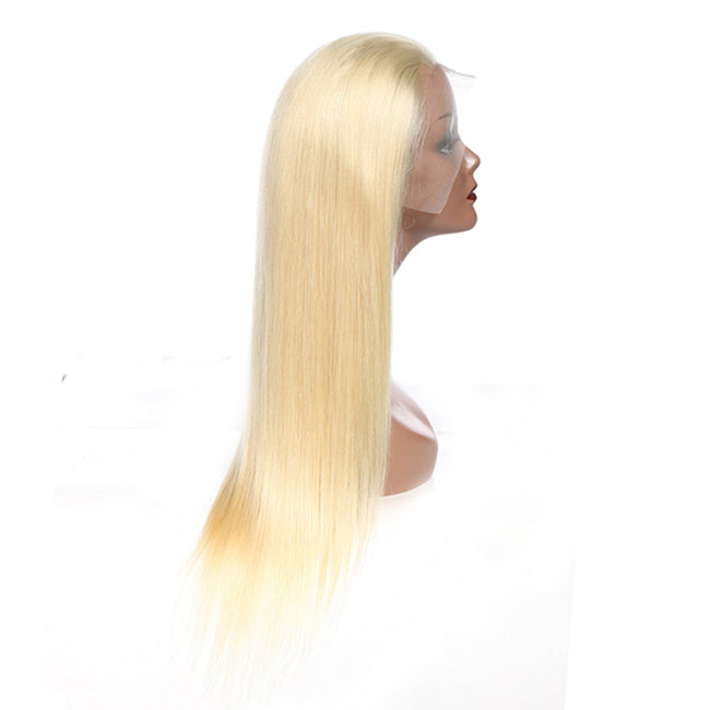 #613 Blonde Human Hair Wigs Brazilian Silk Straight 13x4 Lace Front Wig