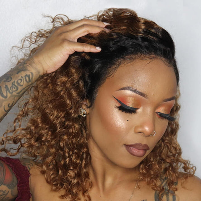Ombre Honey Blonde Short Human Hair Wigs 1b/30 #1b/99j Brazilian Curly Lace Front Wigs Burgundy Water Wave Bob Wigs For Black Women #1b