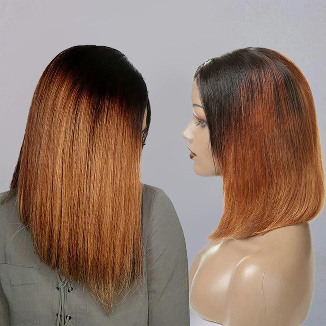 Ombre Auburn Wig Short Straight Bob Cut Lace Front Wig