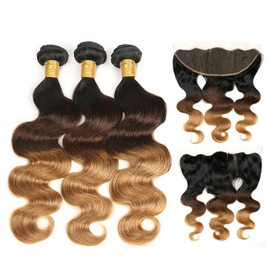 Ombre Bundles With Frontal Body Wave Human Hair Weave Bundles With Frontal T1B/4/27