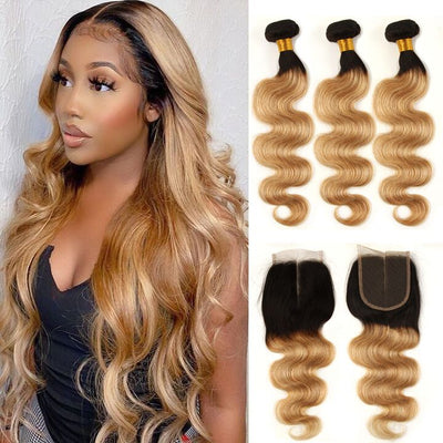 Ombre Bundles With Closure Body Wave Human Hair Weave Bundles With Lace Closure T1B/27