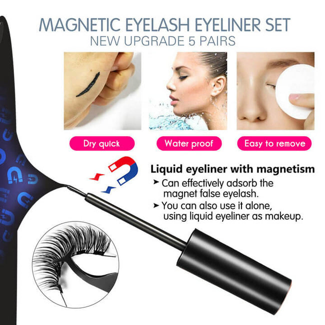 Magnetic Eyeliner and Magnetic Eyelash Kit Magnetic Eyeliner for Magnetic Eyelashes Set, With Reusable Lashes and Tweezer [10 Pairs]