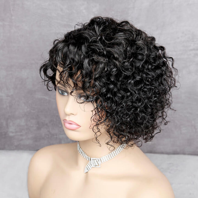 Short Curly Pixie Cut Bob Lace Closure Wigs Brazilian Curly Human Hair Lace Front Wigs For Black Women