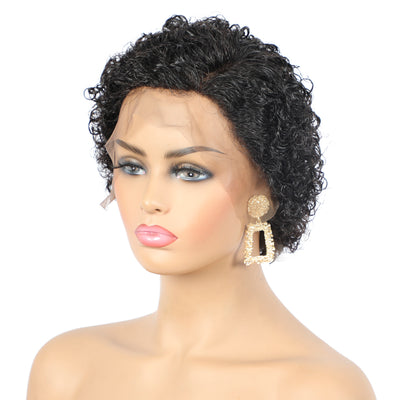 Short Curly Pixie Cut Wig Human Hair Lace Front Wig