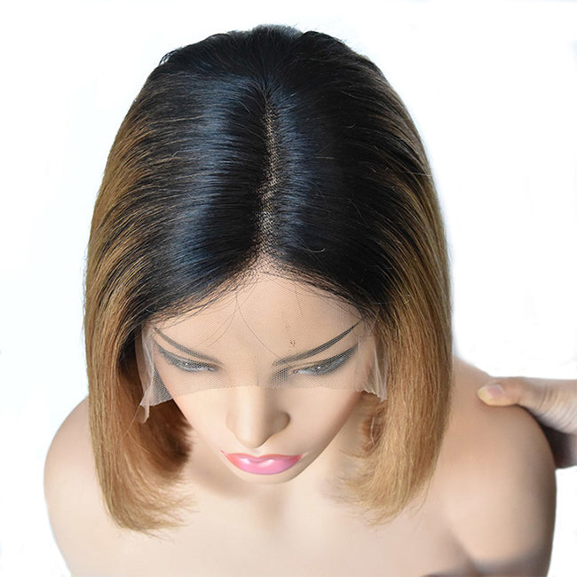 Short Bob Ombre Lace Front Human Hair Wigs Pre-Plucked 13x4 Brazilian Remy Straight Hair Side Part Middle Part Wigs Color 1b 27