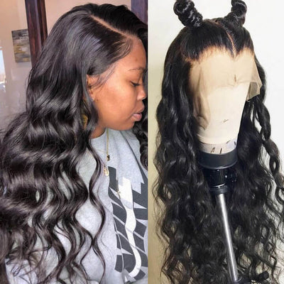Silk Base Full Lace Wigs Indian Body Wave Remy Human Hair Wigs Wavy