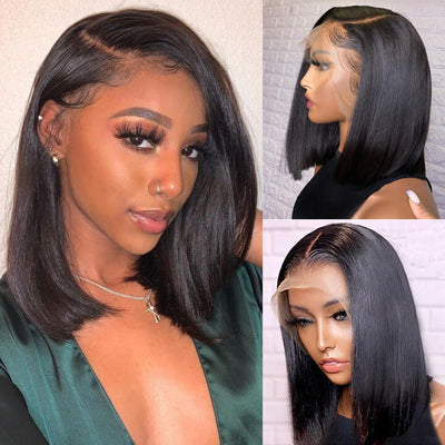 6 Inches Deep Part Bob Wig Straight Lace Front Human Hair Wig