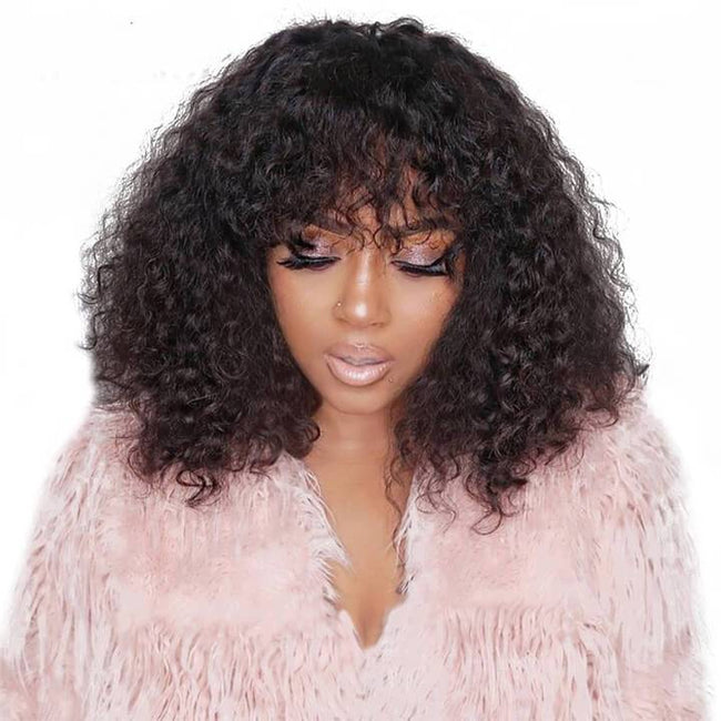afro curly bob wigs with bang
