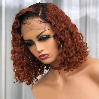 Short Bob Curly Human Hair Wig Glueless Human Hair Closure Wigs for Black Women