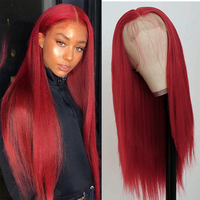 6 Inches Deep Part Red Colored Human Hair Wigs For Women Lace Closure Wig 150 180 Density