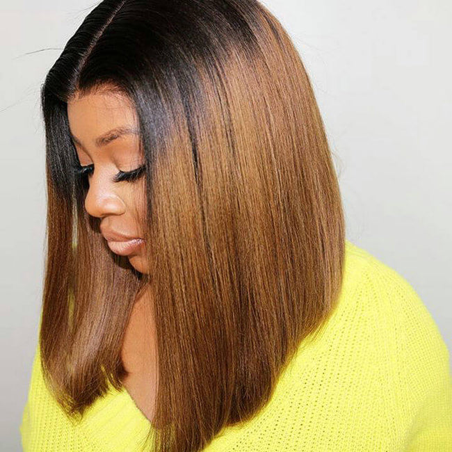 Ombre Auburn Wig Short Straight Bob Cut Transparent Lace Front Wig 100% Indian Remy Human Hair Wigs Online Store