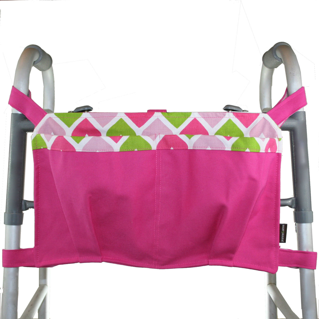 Large Walker Bag, Hot Pink with Heart Print Lining - A walker accessory from Jeanne And Anne
