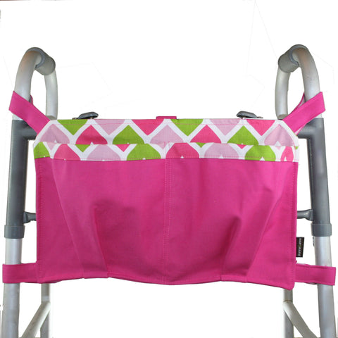 Large Walker Bag, Hot Pink with Heart Print Lining