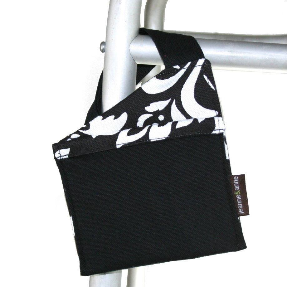 Mini Walker Bag, Coal Black with Black and White Print Lining - A walker accessory from Jeanne And Anne