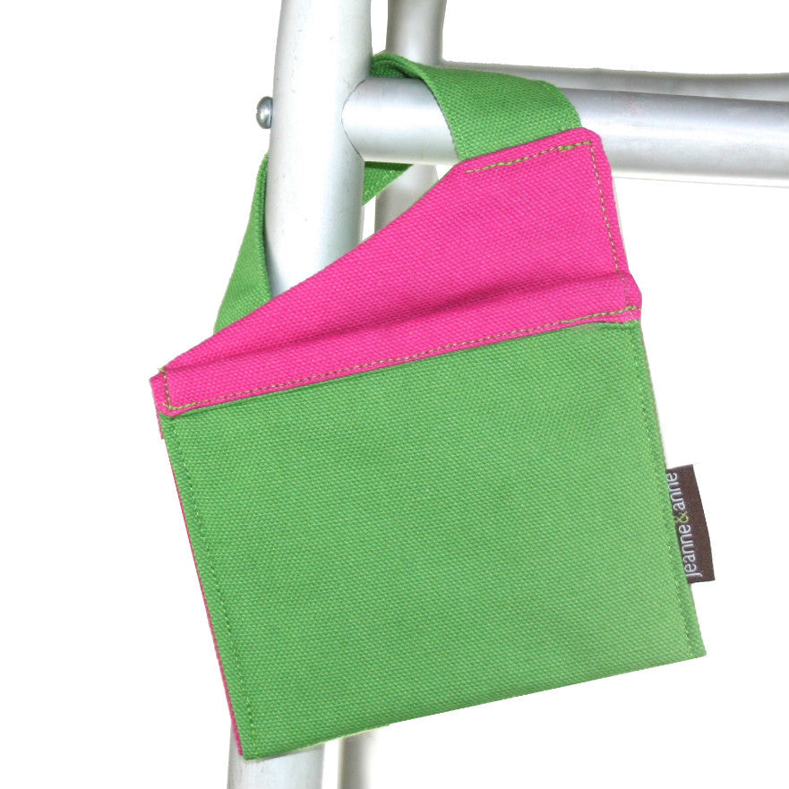 Mini Walker Bag, Summer Green with Hot Pink Lining - A walker accessory from Jeanne And Anne