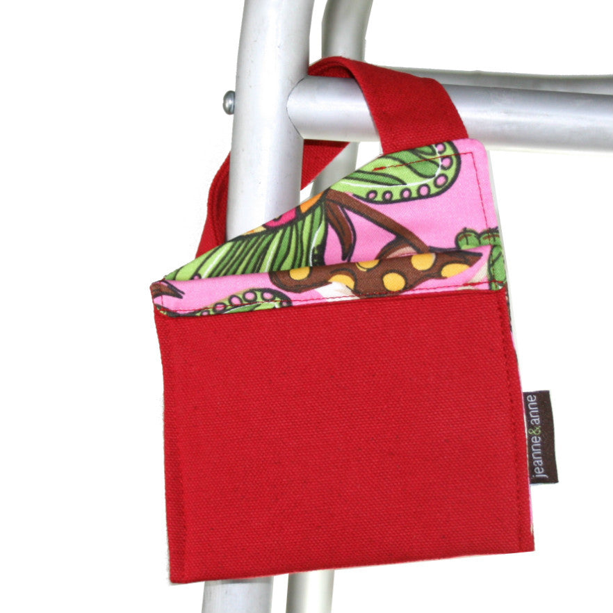 Mini Walker Bag, Bright Red with Floral Garden Lining - A walker accessory from Jeanne And Anne