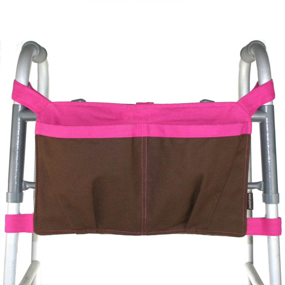 Large Walker Bag, Chocolate Brown with Hot Pink Trim - A walker accessory from Jeanne And Anne
