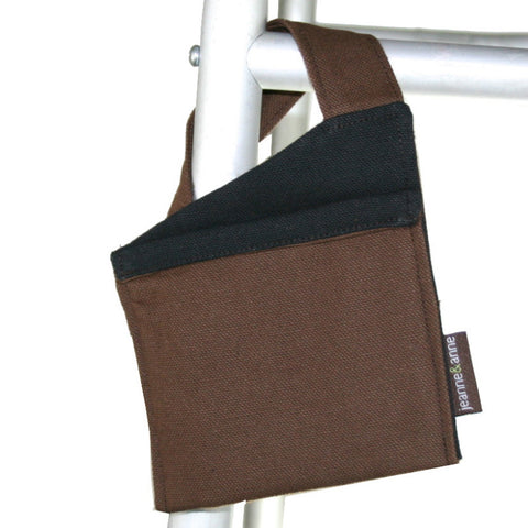 Mini Walker Bag for Cell Phone, Brown with Black | Senior Walker Accessory for Cell Phone