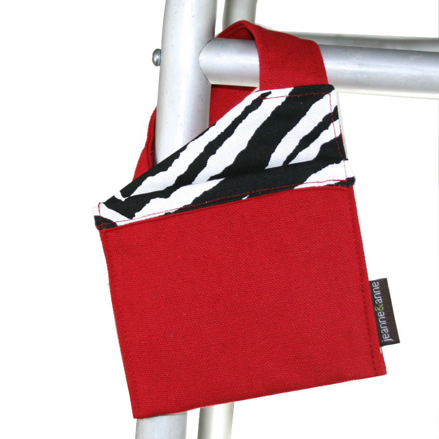Mini Walker Bag, Bright Red with Zebra Print Lining - A walker accessory from Jeanne And Anne