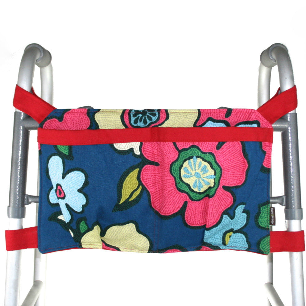 Large Walker Bag, Navy Floral Print with Bright Red Trim - A walker accessory from Jeanne And Anne