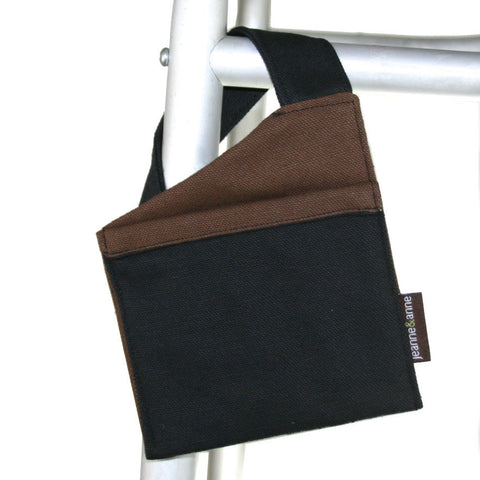 Mini Walker Bag for Cell Phone, Black with Brown | Senior Walker Accessory for Cell Phone