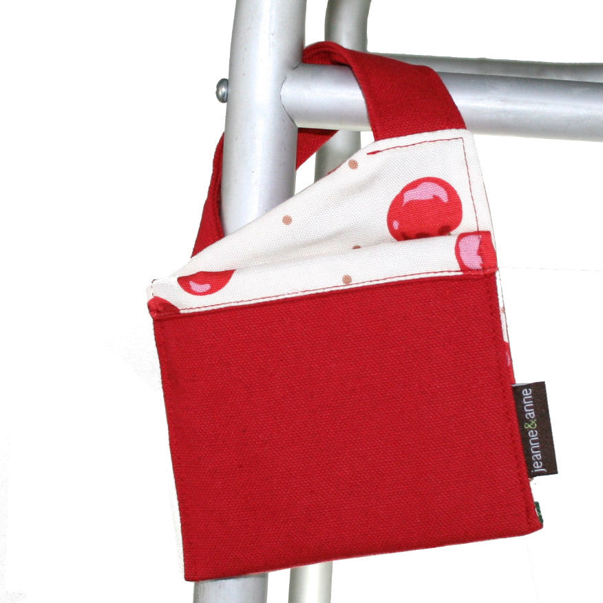 Mini Walker Bag, Bright Red with Cherry Print Lining - A walker accessory from Jeanne And Anne