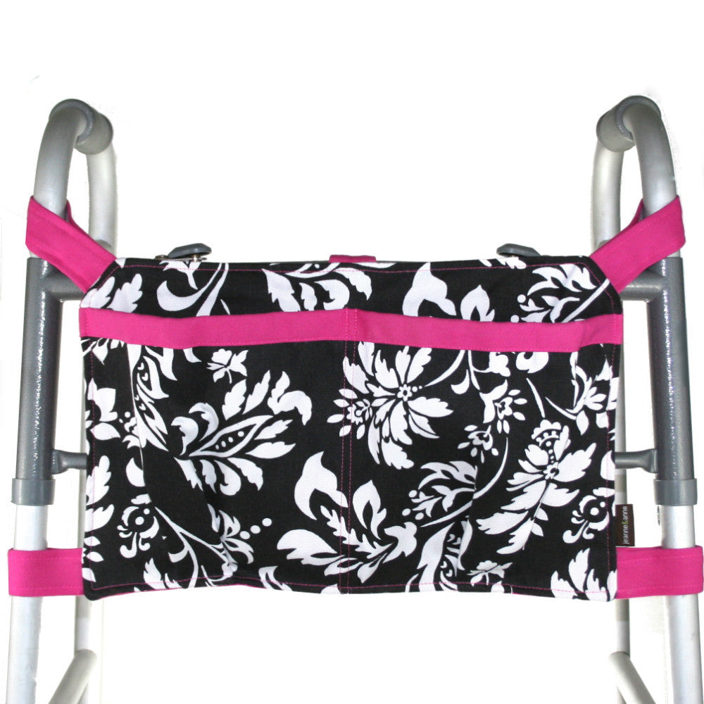 Large Walker Bag, Black and White Print with Hot Pink Trim - A walker accessory from Jeanne And Anne