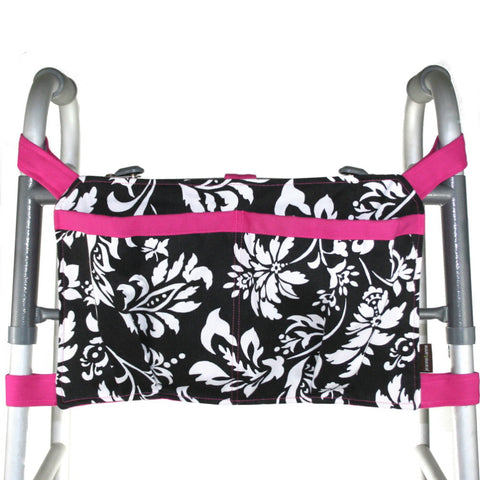 Large Walker Bag, Black and White Print with Hot Pink Trim