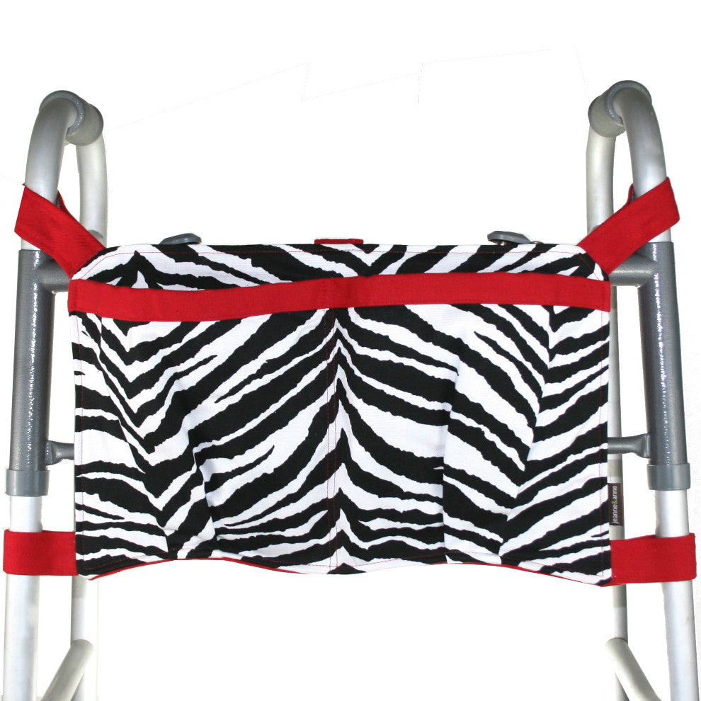 Large Walker Bag, Zebra Print with Bright Red Trim - A walker accessory from Jeanne And Anne