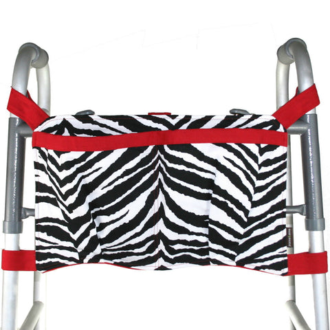 Large Walker Bag, Zebra Print with Red Trim | Senior Walker Accessory | Carrier Pouch for Senior Walker