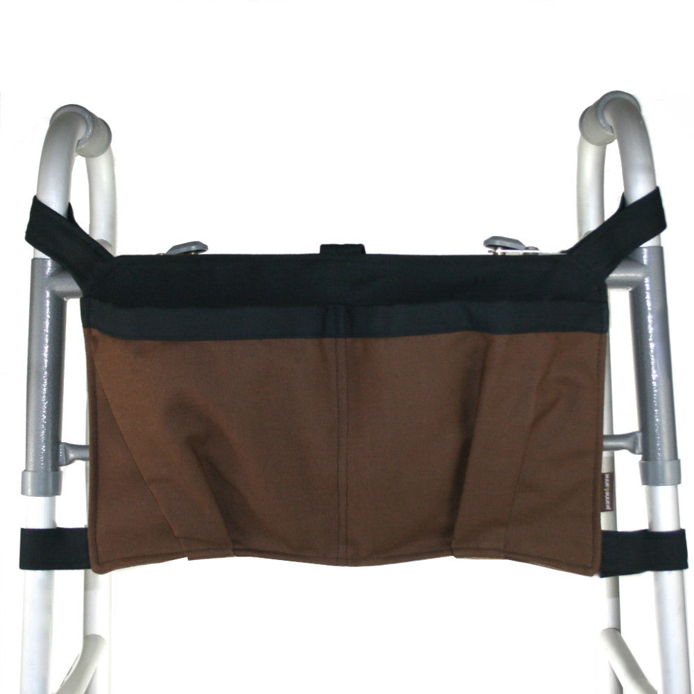 Large Walker Bag, Chocolate Brown with Coal Black Trim - A walker accessory from Jeanne And Anne