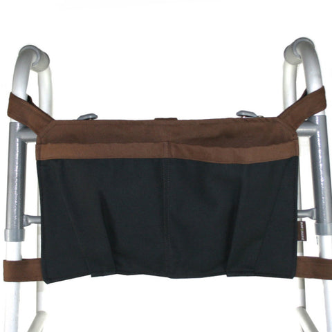 Walker Bag, Black and Brown | Senior Walker Accessory | Carrier Pouch for Senior Walker