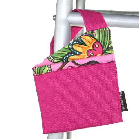 Mini Walker Bag, Hot Pink with Floral Garden Lining