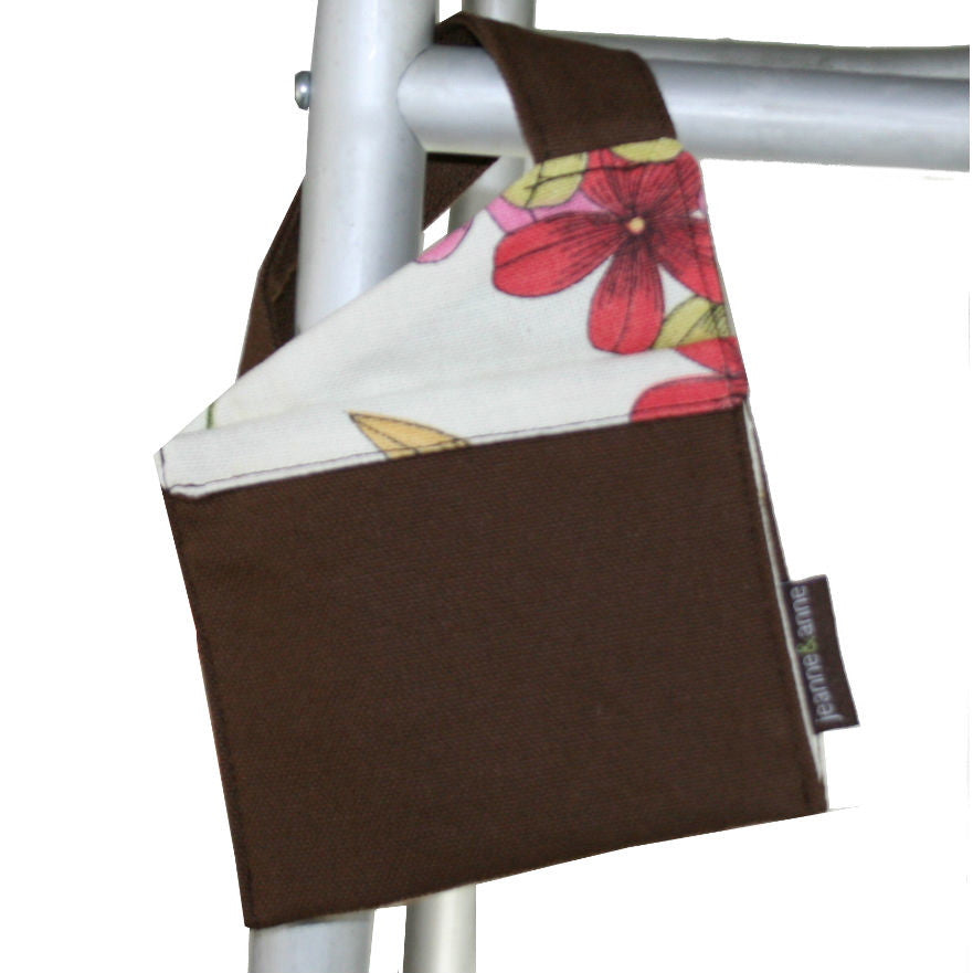 Mini Walker Bag, Chocolate Brown with Rose Petal Lining - A walker accessory from Jeanne And Anne