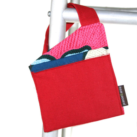 Mini Walker Bag for Cell Phone, Red with Navy Print | Senior Walker Accessory for Cell Phone