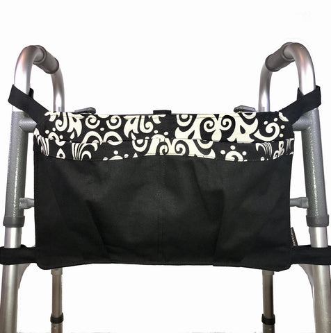 Walker Bag, Black and White | Senior Walker Accessory | Carrier Pouch for Senior Walker