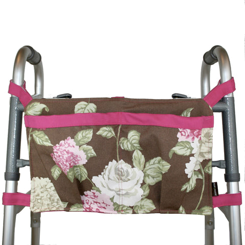 Walker Bag, Brown Hydrangea Print | Senior Walker Accessory | Carrier Pouch for Senior Walker