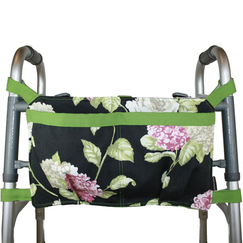 Walker Bag, Black Hydrangea Print | Senior Walker Accessory | Carrier Pouch for Senior Walker
