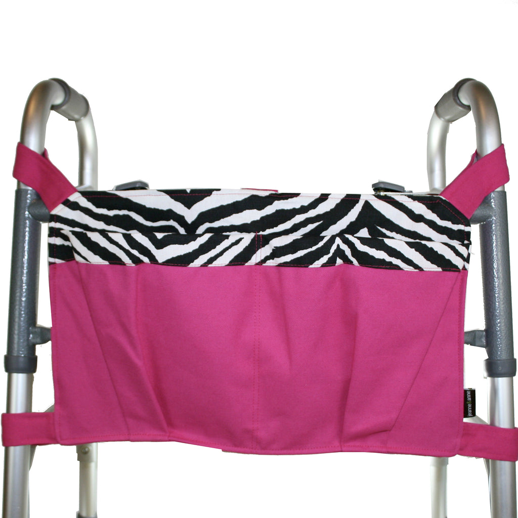Large Walker Bag, Hot Pink with Zebra Trim - A walker accessory from Jeanne And Anne