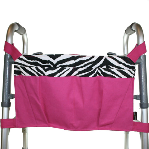 Walker Bag, Hot Pink with Zebra | Senior Walker Accessory | Carrier Pouch for Senior Walker