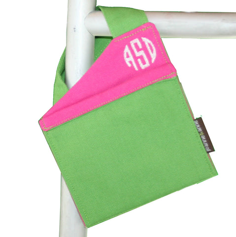 Monogrammed Mini Walker Bag for Cell Phone, Summer Green with Hot Pink Trim