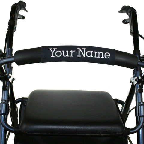 Personalized Rollator Nameplate (Black) | Rolling Walker Accessory | Senior Walker Nameplate
