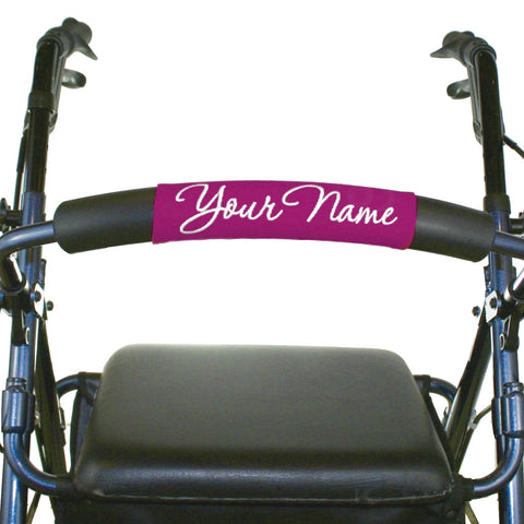 Personalized Rollator Nameplate (Pink) | Rolling Walker Accessory | Senior Walker Nameplate