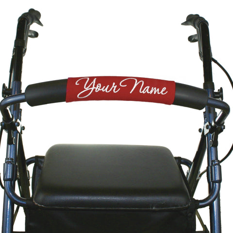 Personalized Rollator Nameplate (Red) | Rolling Walker Accessory | Senior Walker Nameplate