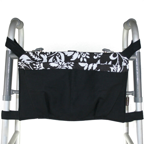 Walker Bag, Black with White and Black Print | Senior Walker Accessory | Carrier Pouch for Senior Walker