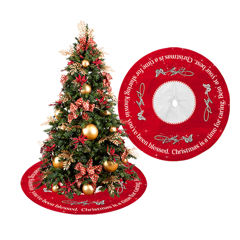 A Holly Dolly Christmas Script Tree Skirt Official Store